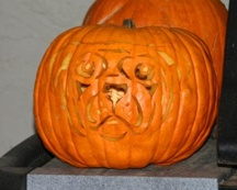 Pug-kin, pumpkin carved by Ann Ranlett