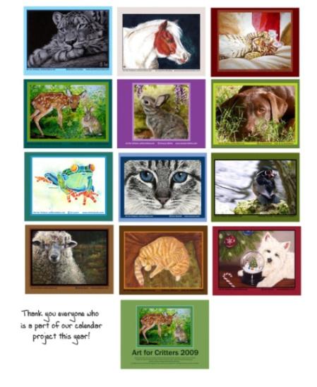 Art for Critters 2009 Calendar