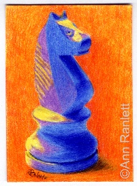 Black Knight - color pencil ACEO by Ann Ranlett