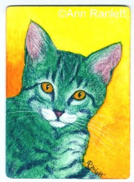 The Look - ACEO painting of a tabby kitten, by Ann Ranlett