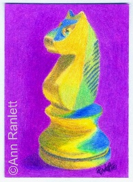 White Knight - color pencil ACEO by Ann Ranlett
