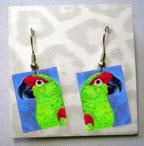 Thick-Billed Parrot earrings by Ann Ranlett