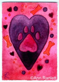 Puppy Love #1 - ACEO, watercolor and color pencil