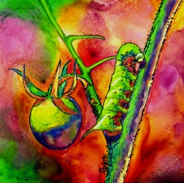 Green Scourge, mixed media painting of a tomato worm, by Ann Ranlett
