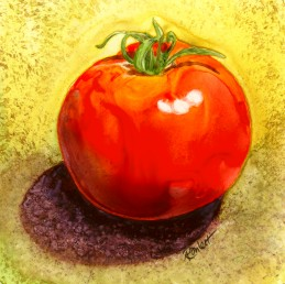 Tomato, watercolor on Yupo by Ann Ranlett